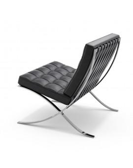 Lounge chair & Ottoman - Cuir noir et blanc
